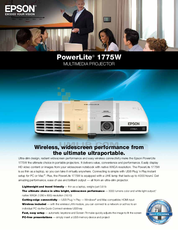 pdf for Epson Projector PowerLite 1775W manual
