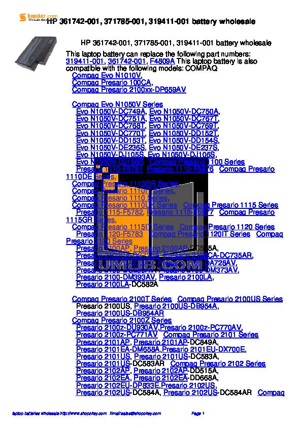 pdf for HP Laptop Pavilion ZE4358 manual