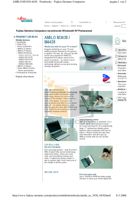 Fujitsu siemens amilo m3438g