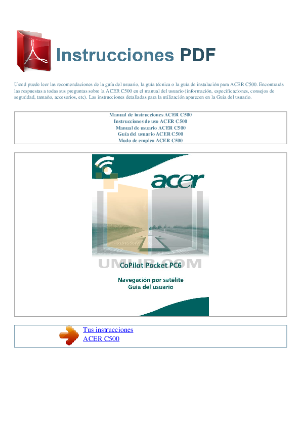 pdf for Acer PDA c500 manual