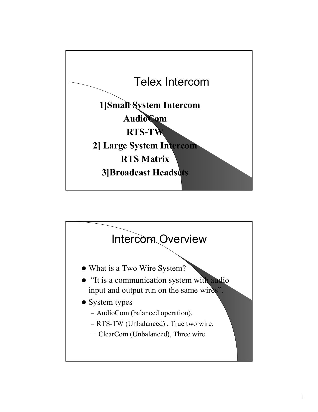 Telex Intercom Wiring Diagram Schematics For 3 Prong Plug Speakon Configurations Pdf
