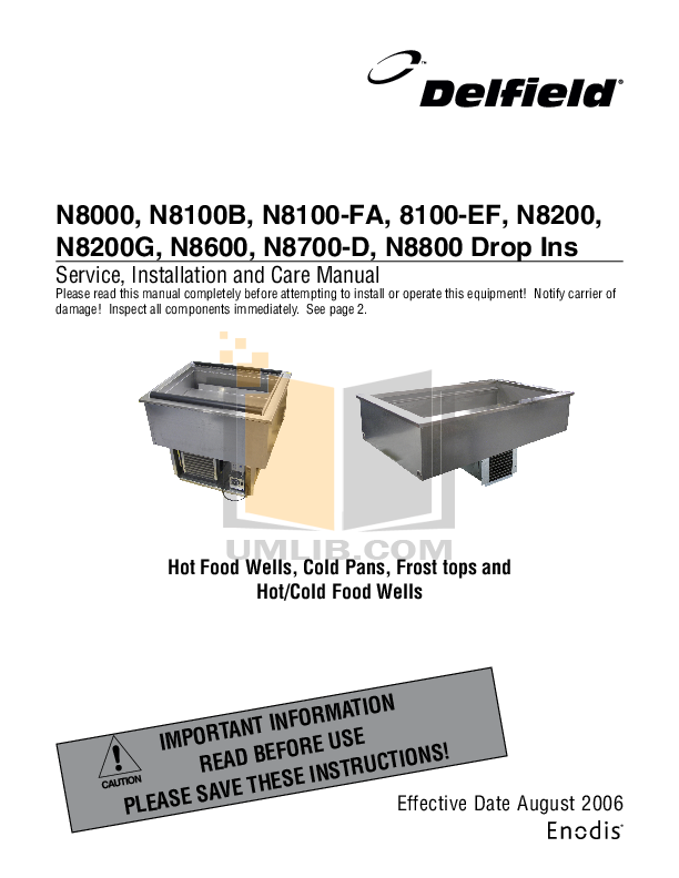 pdf for Delfield Other N8600 Hot and Cold Pans manual