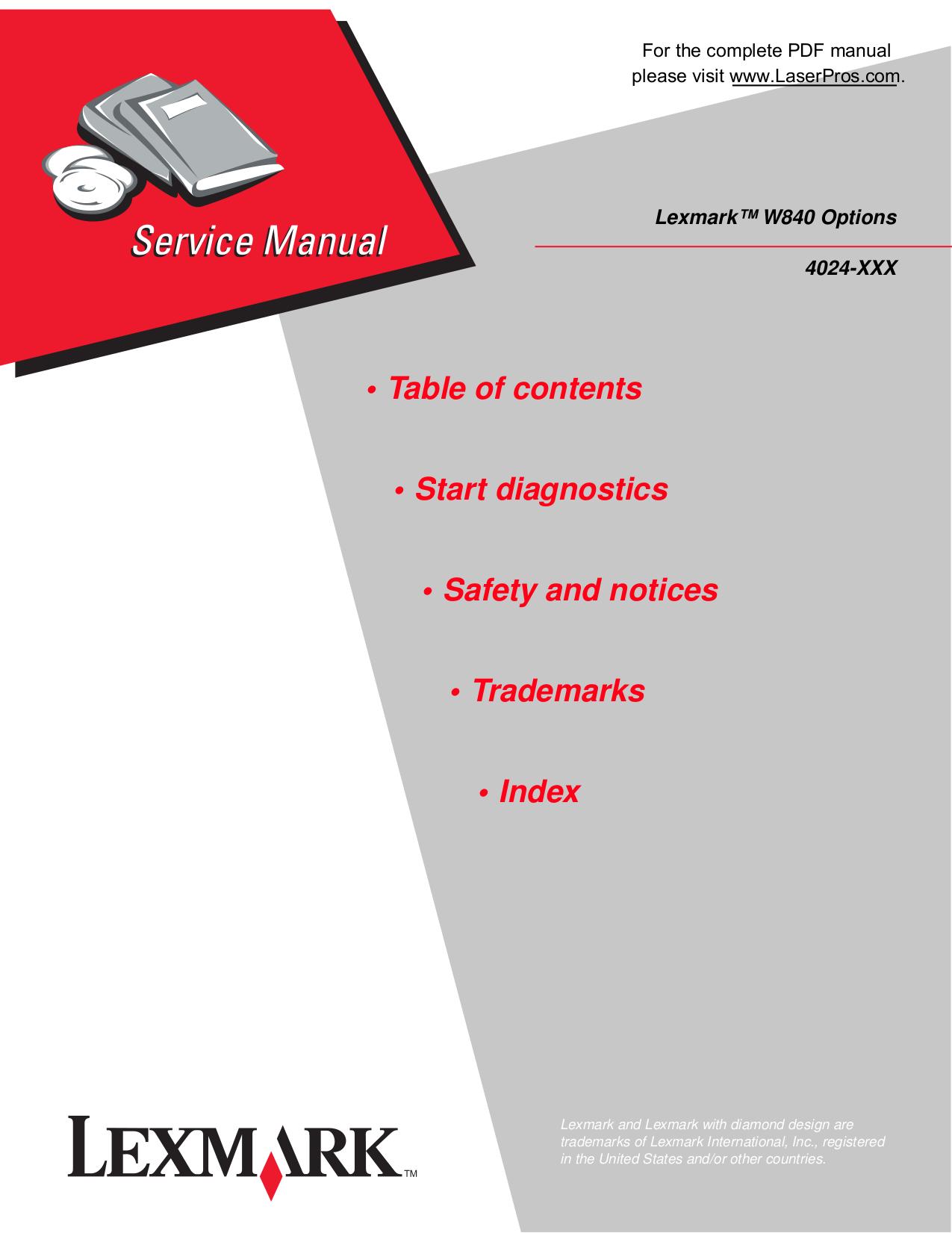 pdf for Lexmark Printer W840 manual