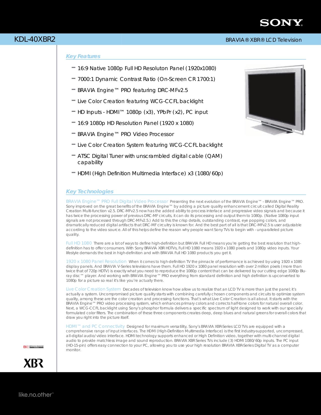 download free pdf for sony bravia kdl 40xbr2 tv manual rh umlib com KDL-40XBR2 Parts Sony BRAVIA Kd65xe8596 for Gaming