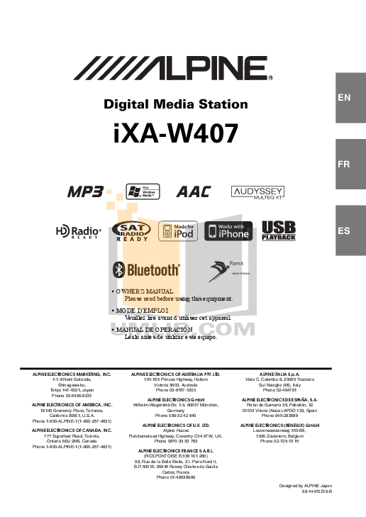 pdf for Alpine Car Video IXA-W407 manual