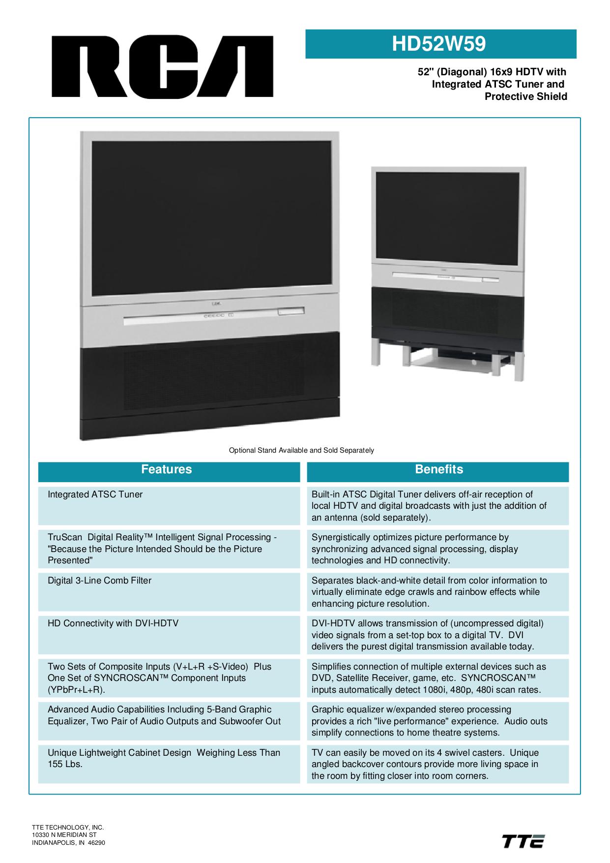 Download free pdf for RCA HD52W59 TV manual