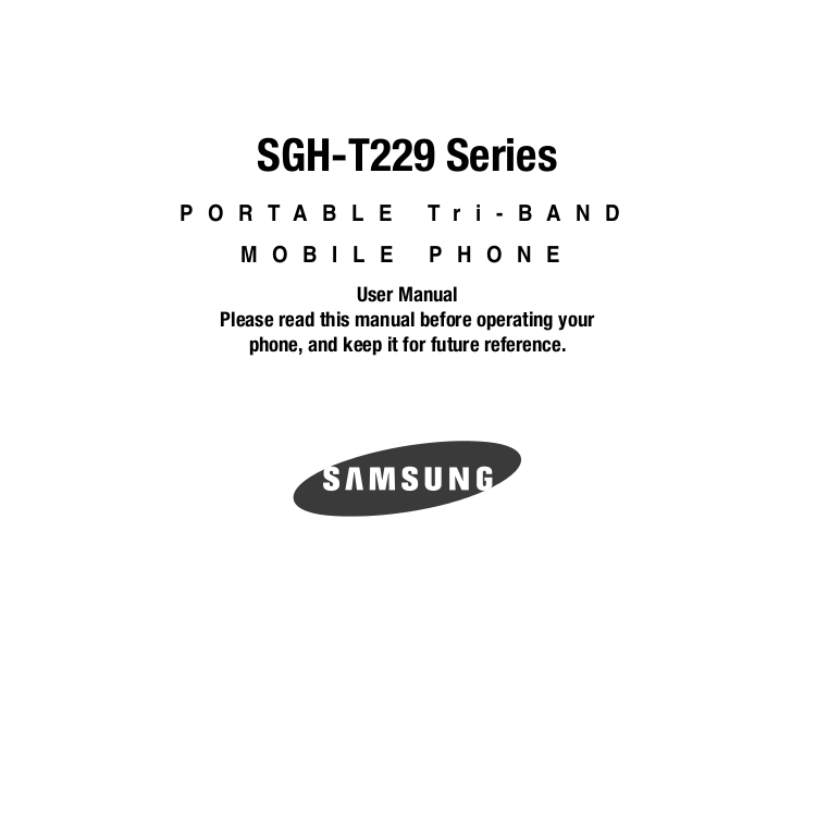pdf for Samsung Cell Phone SGH-T229 manual