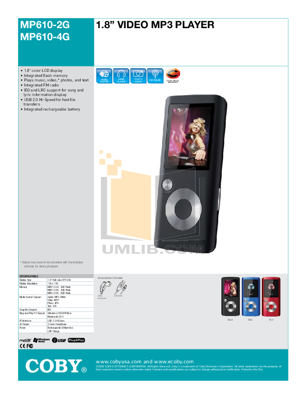 download free pdf for coby mp 610 4gb mp3 player manual rh umlib com Coby MP3 Player Instructions Manual Coby MP828 MP3 Player Manuel