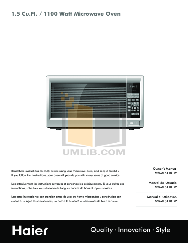 pdf for Haier Microwave MWM15110TW manual