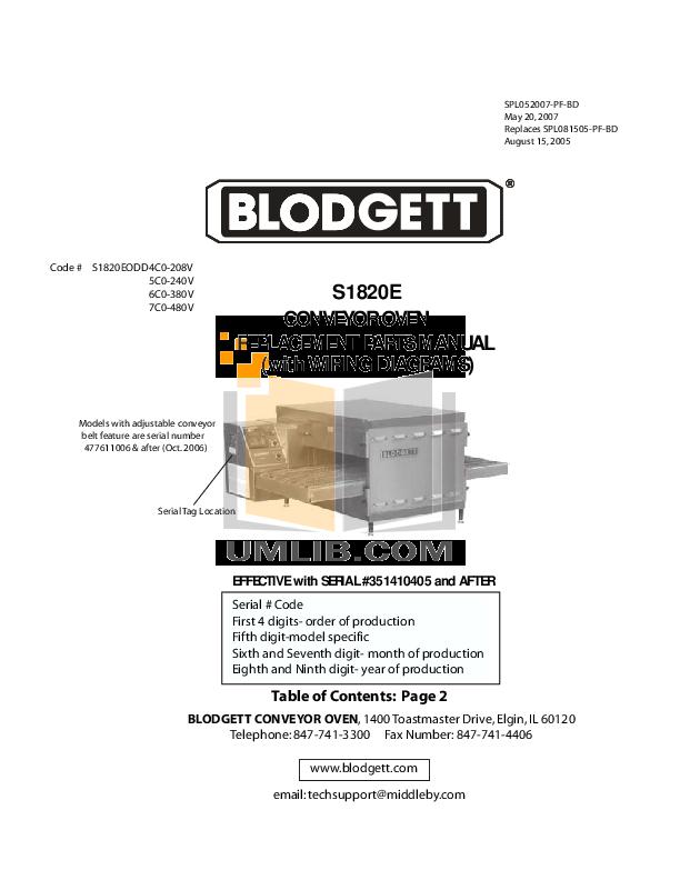 pdf for Blodgett Oven S1820E manual