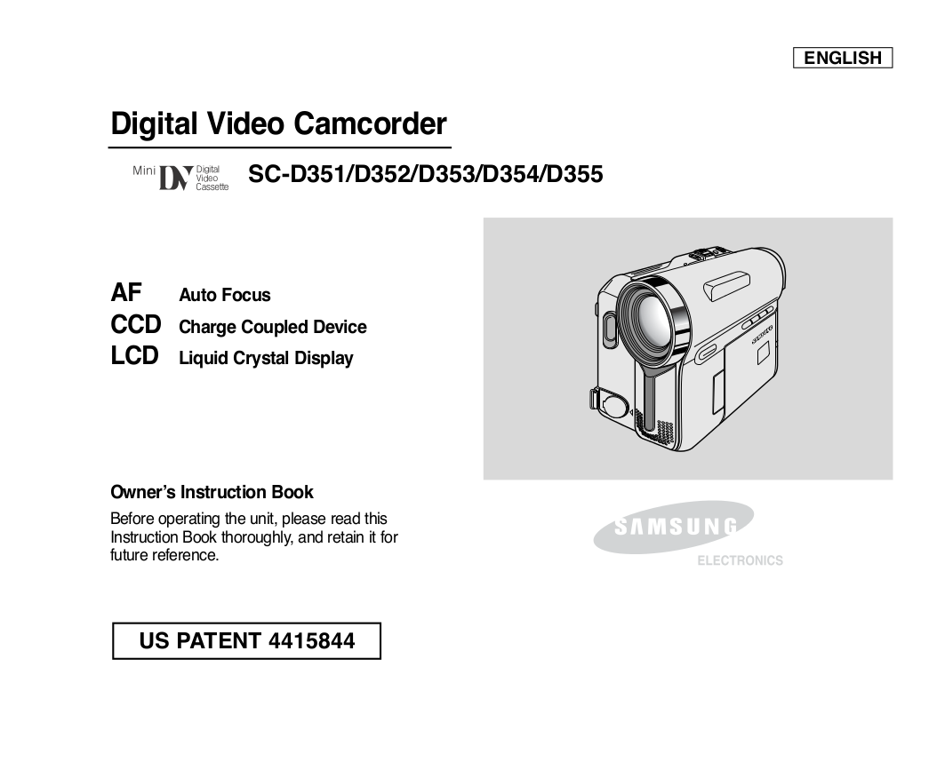 pdf for Samsung Camcorders SC-D354 manual