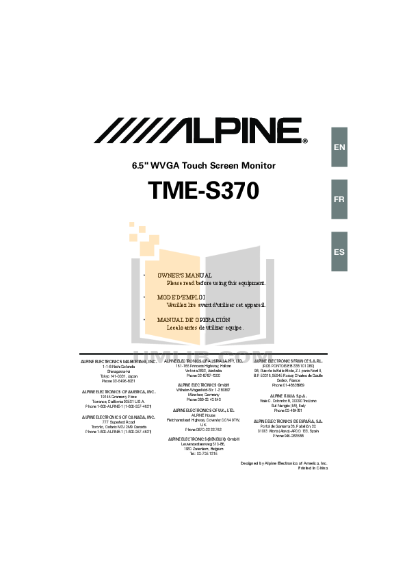 pdf for Alpine Car Video TME-S370 manual
