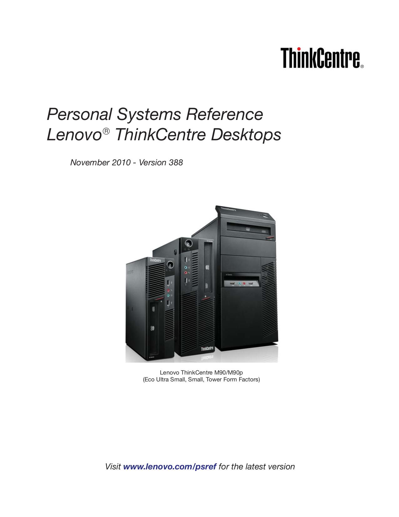pdf for Lenovo Desktop ThinkCentre M58e 7408 manual