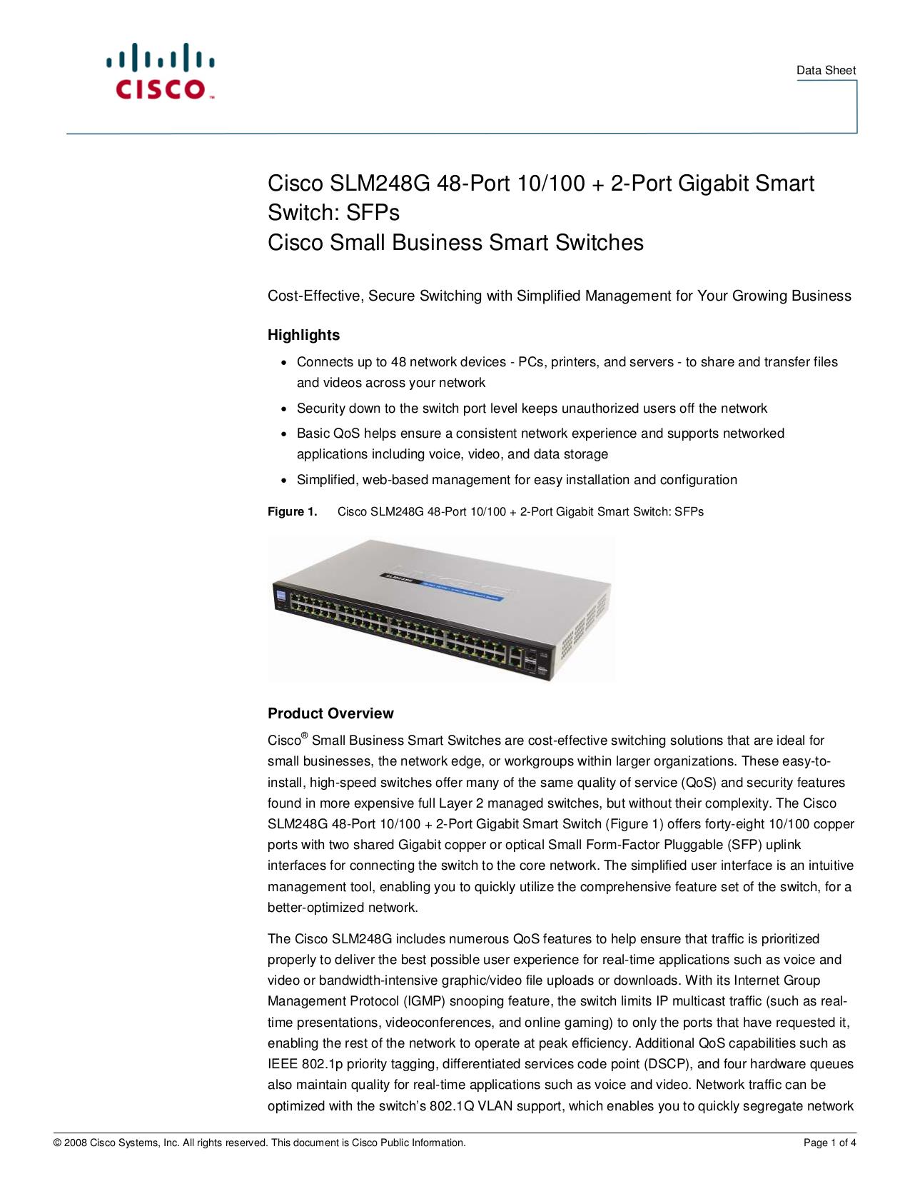 pdf for Linksys Switch SLM248G manual