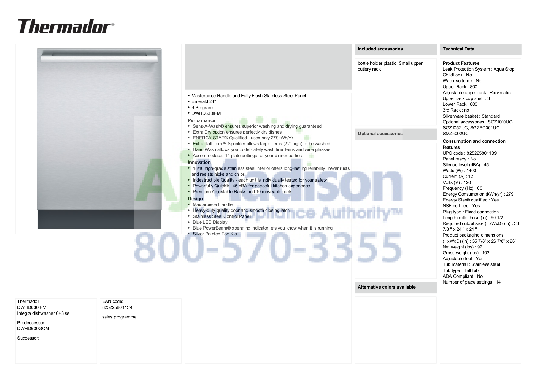 pdf for Thermador Dishwasher Masterpiece DWHD630GCM manual