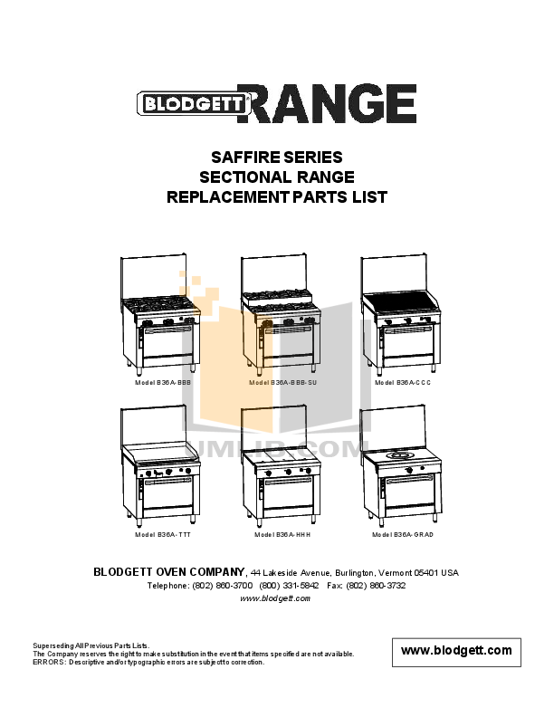pdf for Blodgett Range B36N-HHH manual