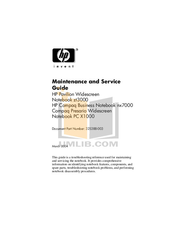pdf for HP Laptop Compaq Presario,Presario X1078 manual