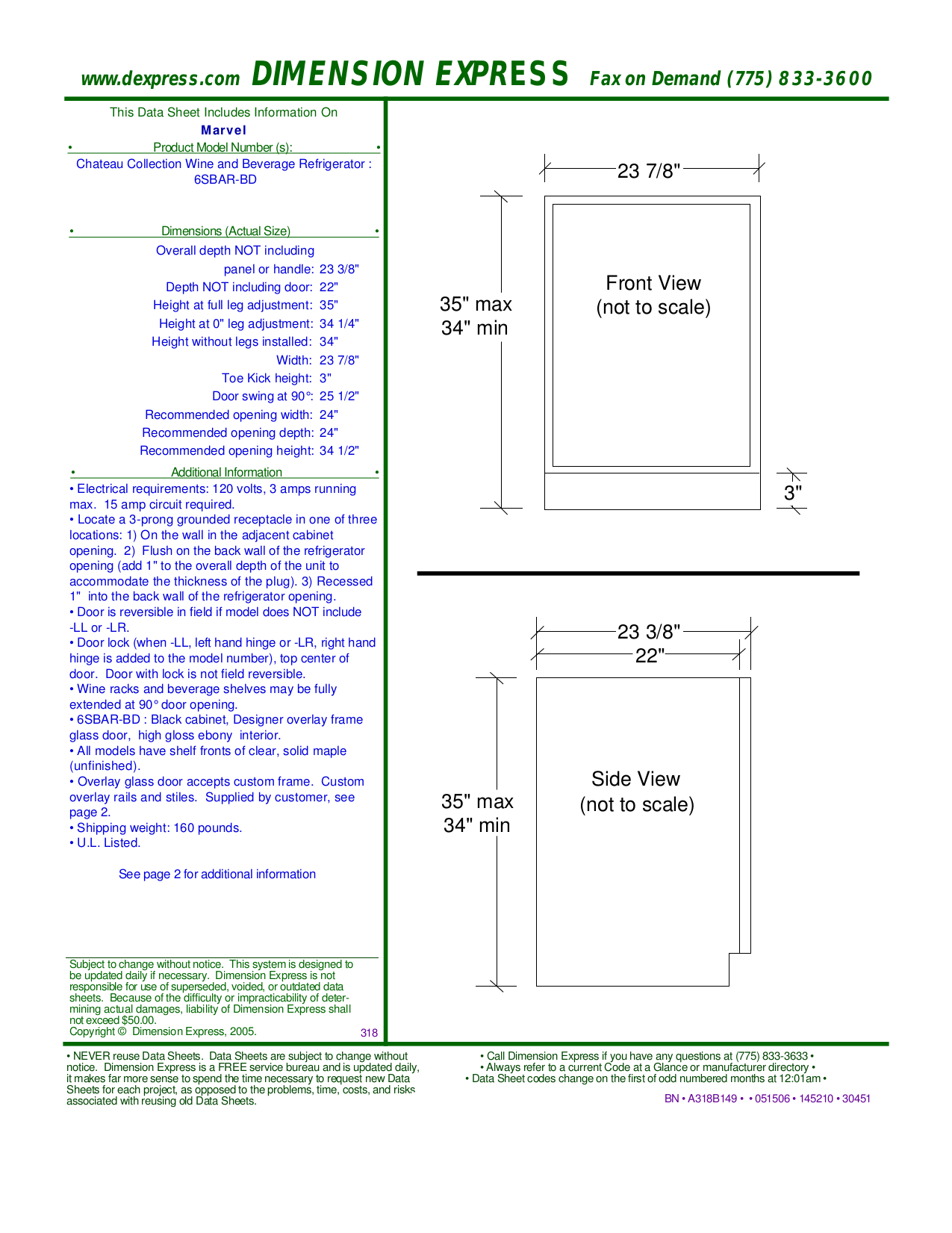 pdf for Marvel Refrigerator 6SBAR-BD manual