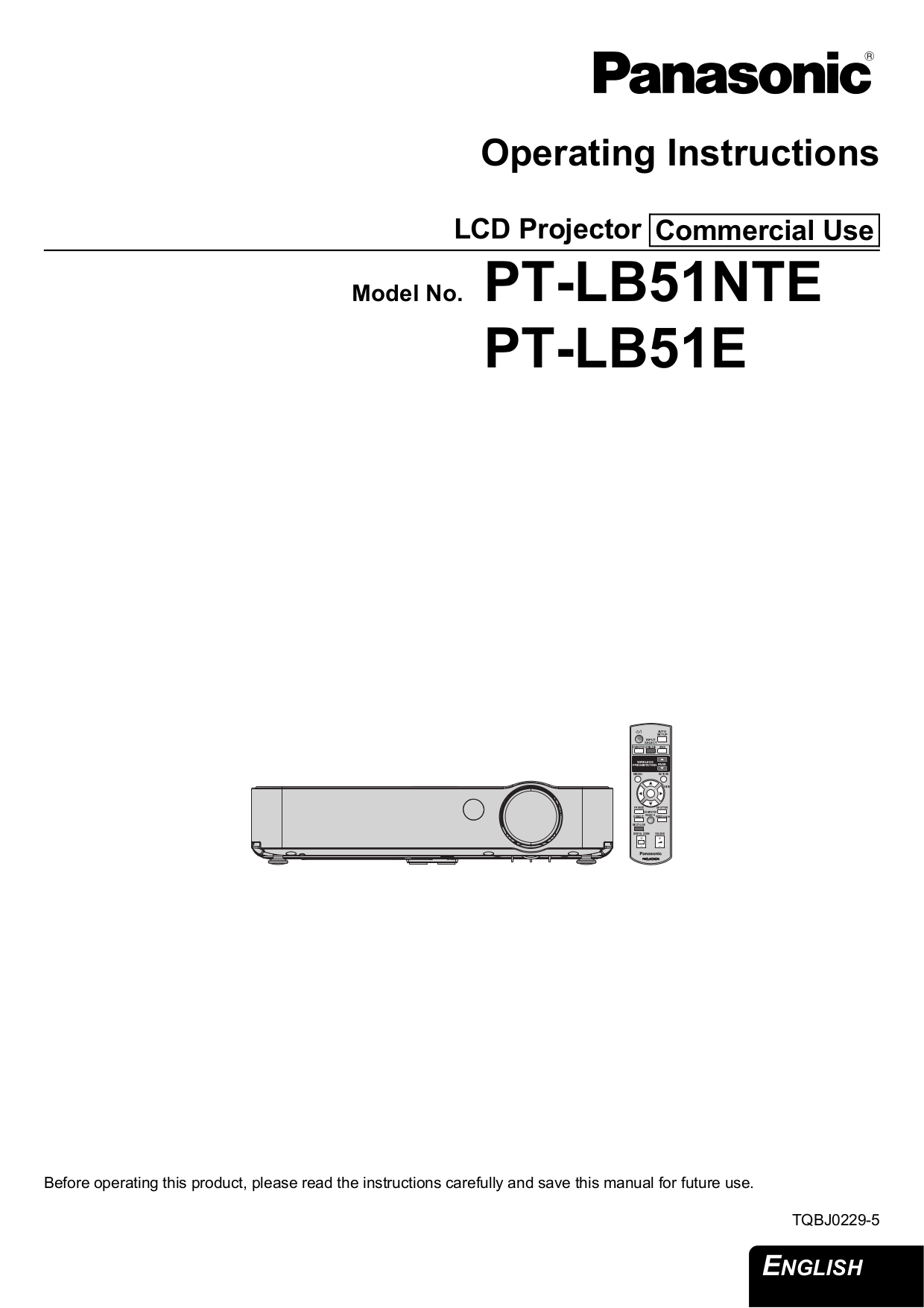 pdf for Panasonic Projector PT-LB51E manual