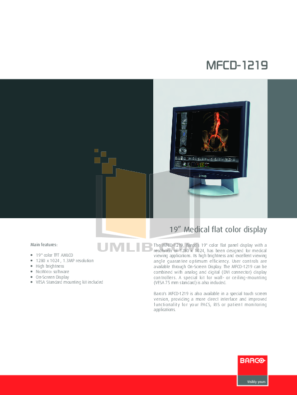 pdf for Barco Monitor MFCD-1219 manual