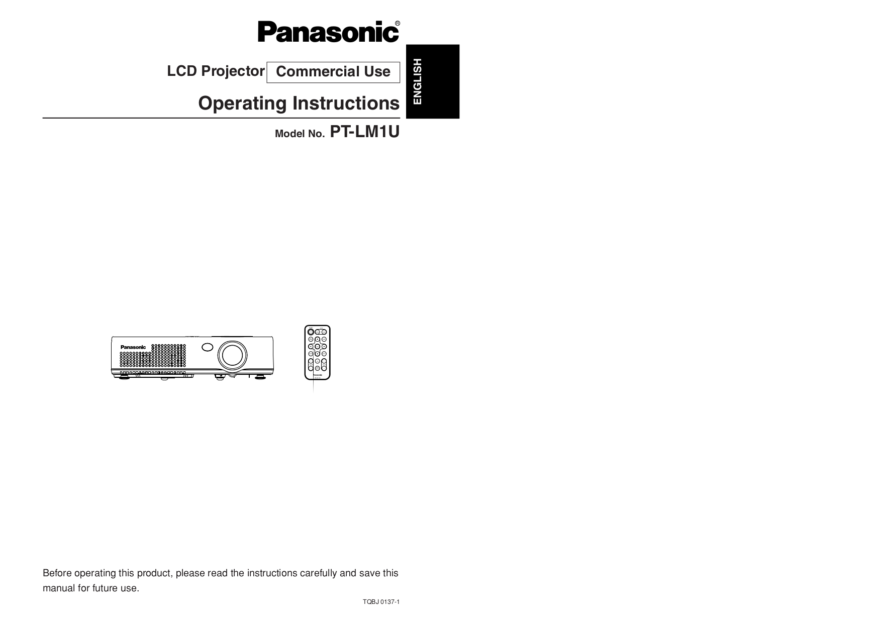 pdf for Panasonic Projector PT-LM1U manual