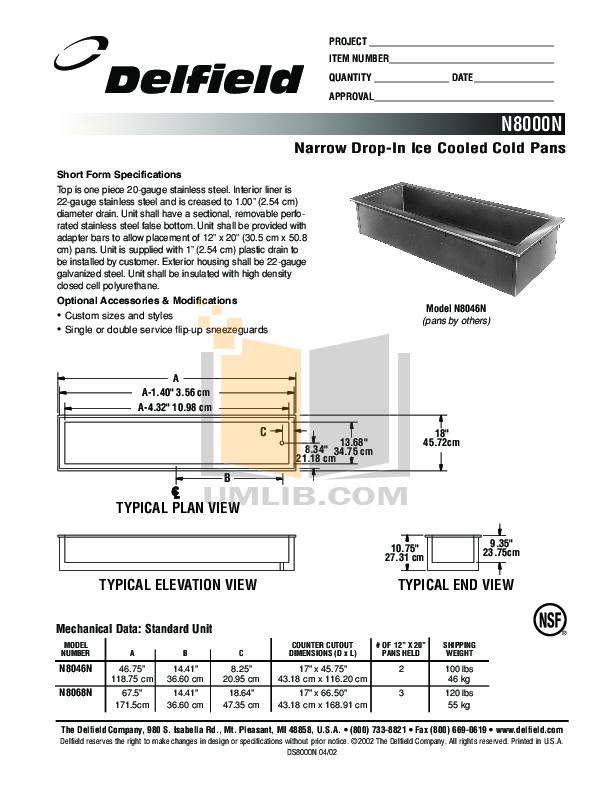pdf for Delfield Other N8046N Cold Pans manual