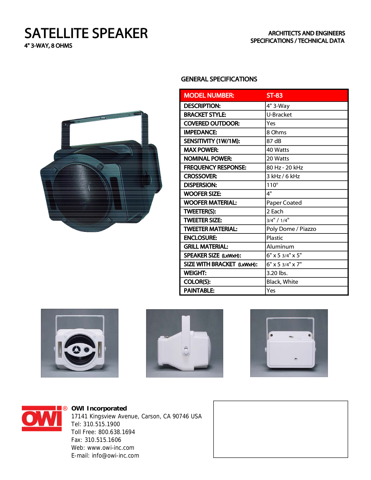 pdf for Owi Speaker ST83 manual