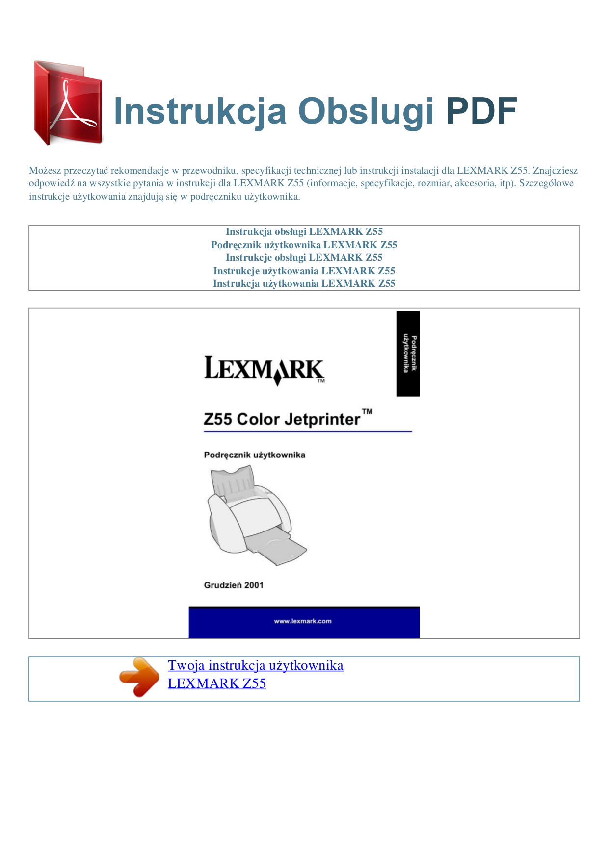 pdf for Lexmark Printer Z55 manual
