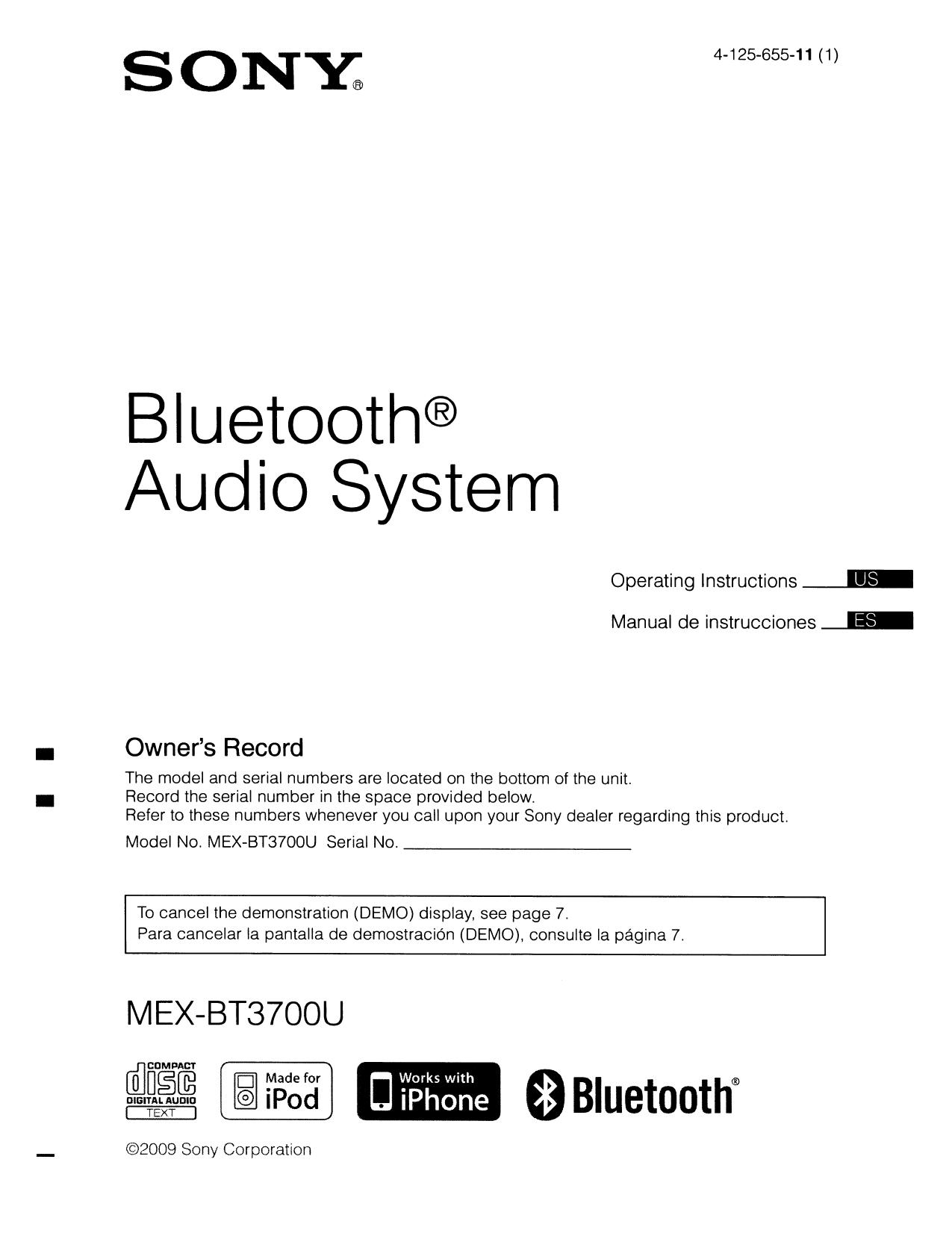 pdf for sony car receiver mex-bt3700u manual