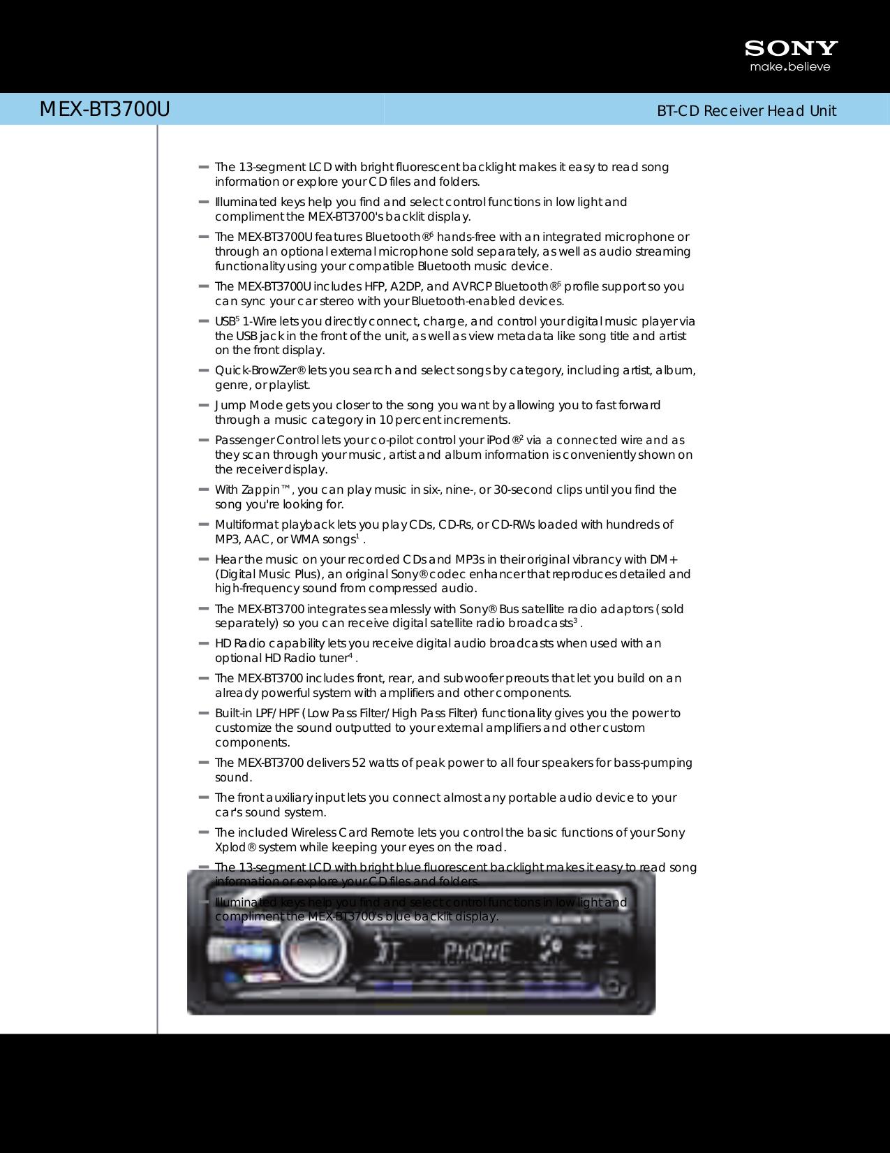 download free pdf for sony mex bt3700u car receiver manual rh umlib com Sony STR-DE695 Specs Sony Receivers 8854870
