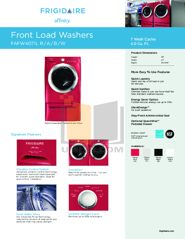 download free pdf for frigidaire affinity fafw4071l washer m