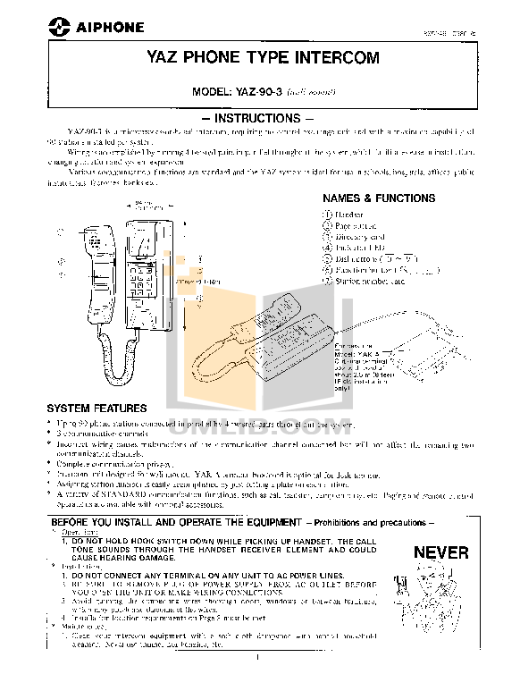 pdf for Aiphone Other YAW-RA Intercoms-Accessory manual