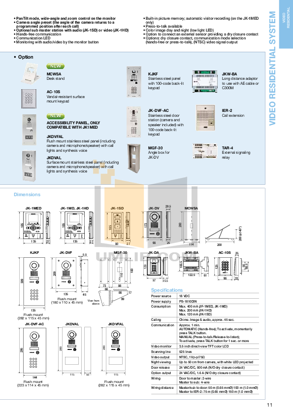 Aiphone Other YAW-RA Intercoms-Accessory pdf page preview