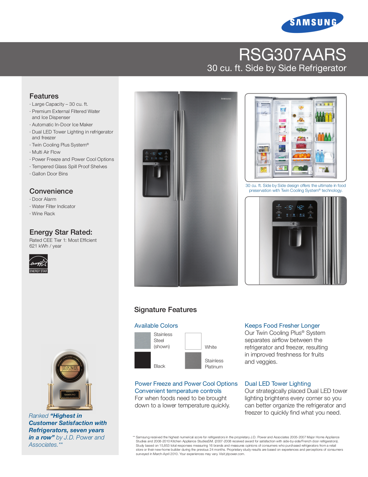 pdf for Samsung Refrigerator RSG307AARS manual