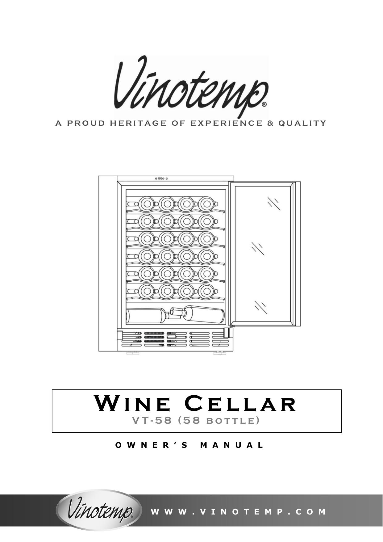 pdf for Vinotemp Refrigerator VT-58 manual