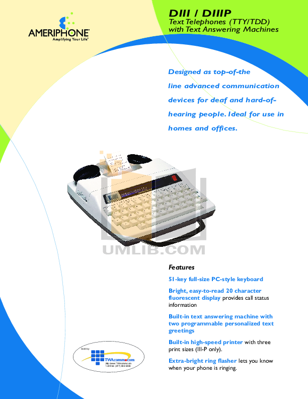 pdf for Ameriphone Telephone DIIIP manual