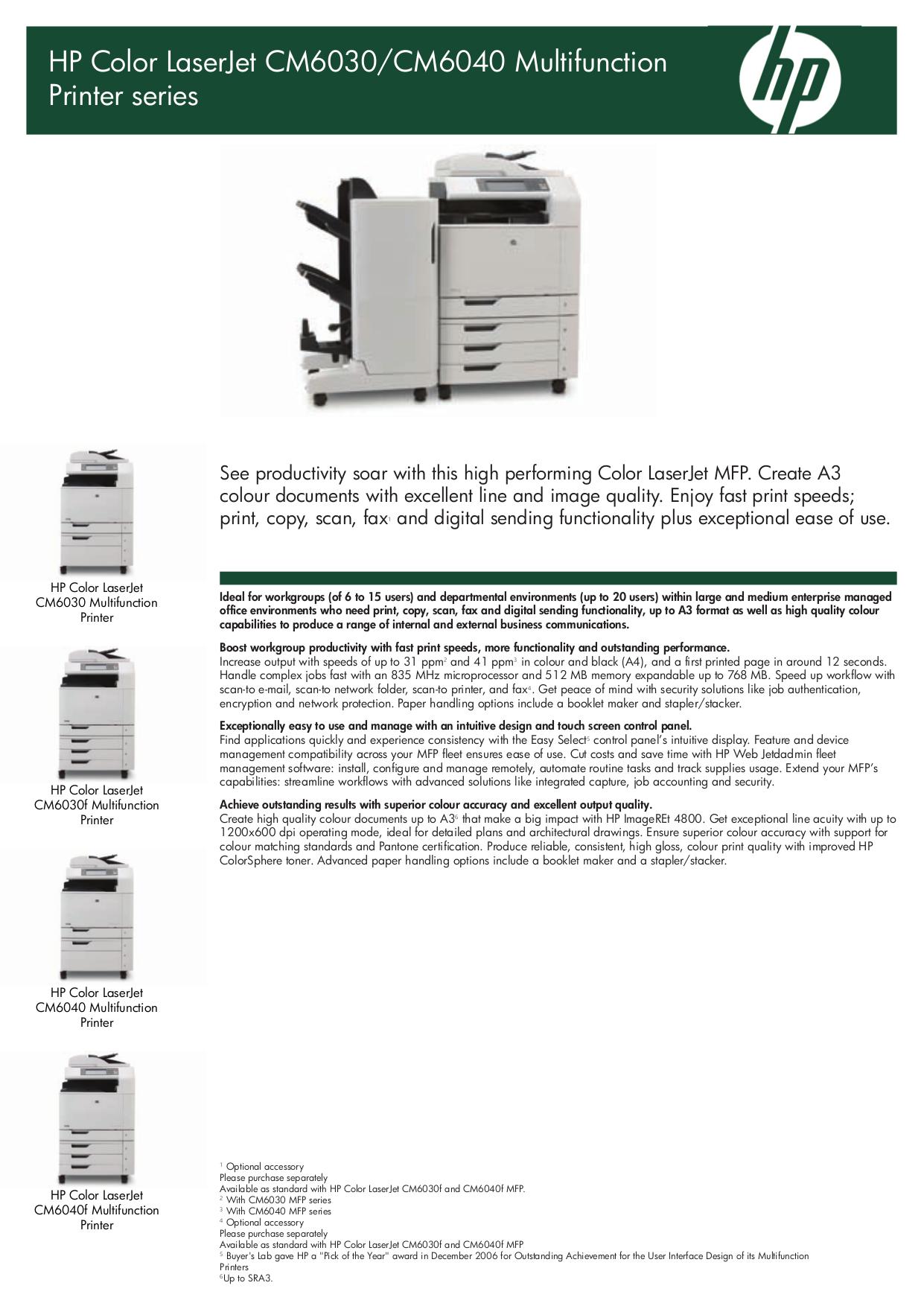 pdf for HP Multifunction Printer Laserjet,Color Laserjet CM6030 manual