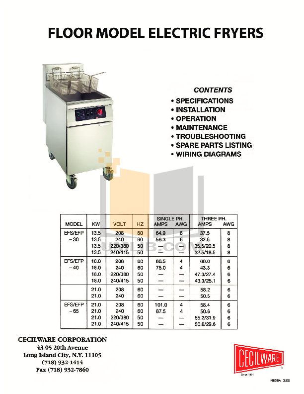 pdf for Cecilware Other EFS-40 Fryers manual