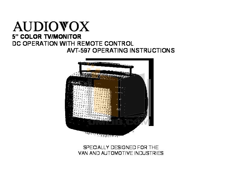 pdf for Audiovox TV AVT-597 manual