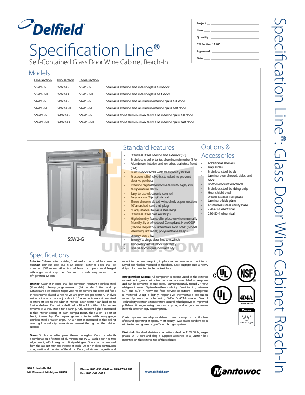 pdf for Delfield Refrigerator SSW3-G manual