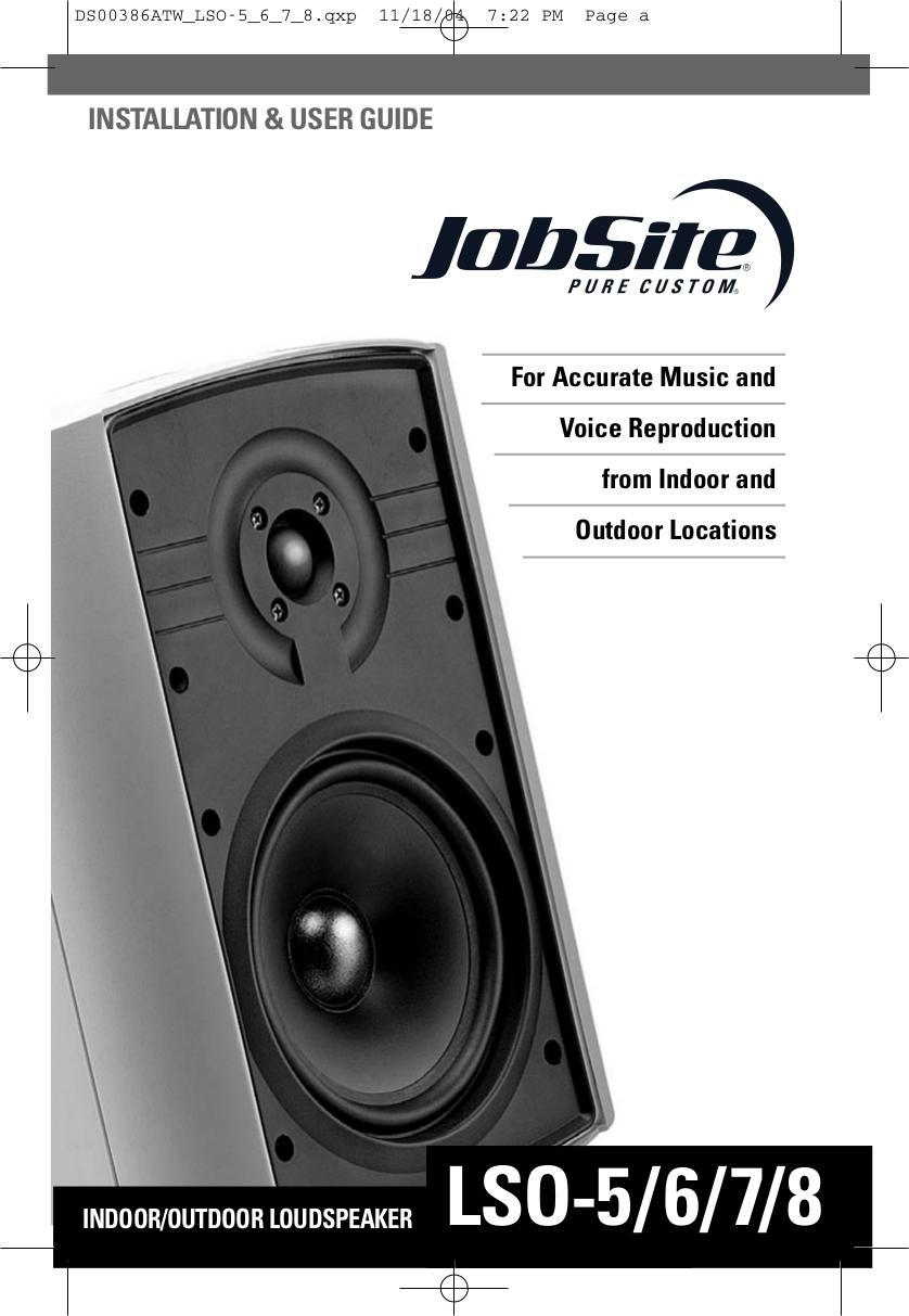 pdf for Niles Speaker LSO-7 manual