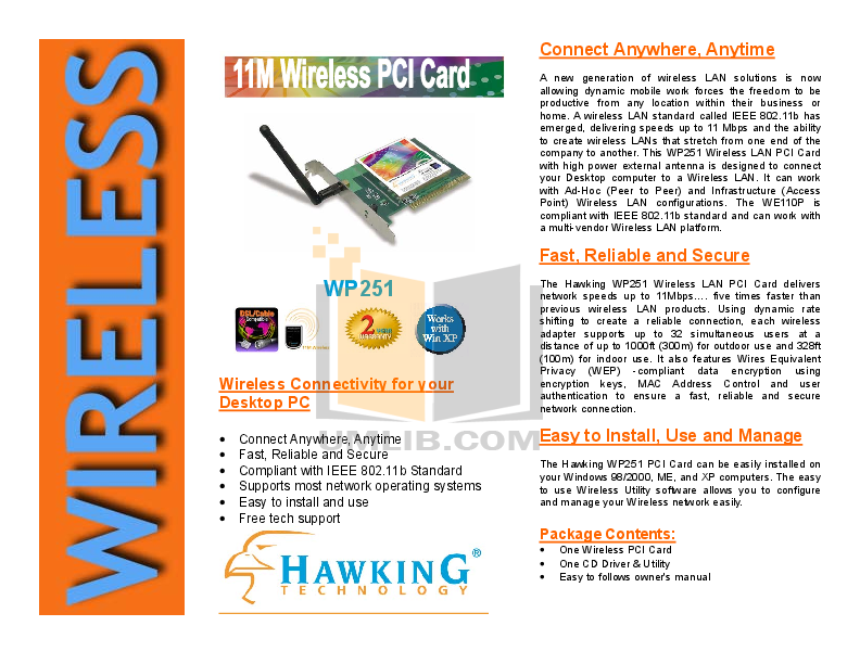 pdf for Hawking Other CF100W Network Card manual