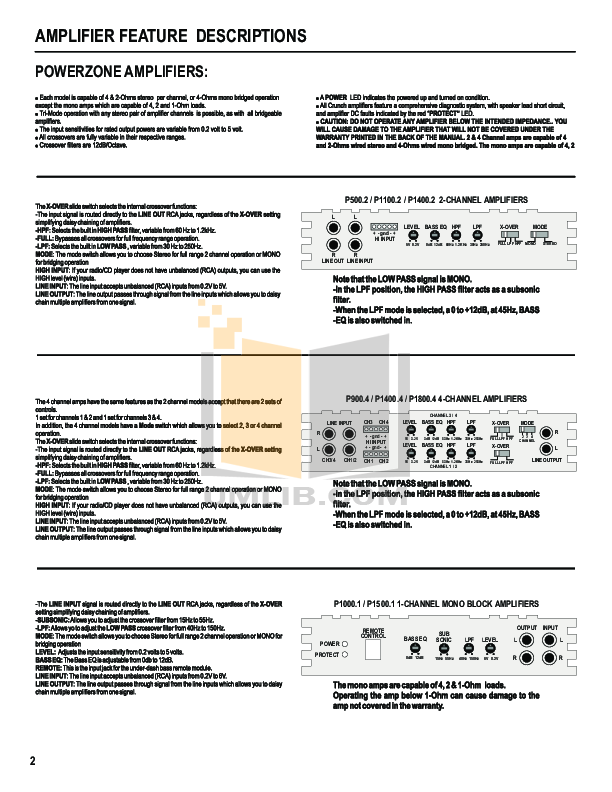 Crunch Car Amplifier PowerZone P1100.2 pdf page preview