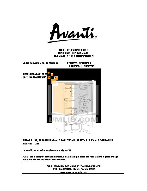 pdf for Avanti Refrigerator FF881W manual