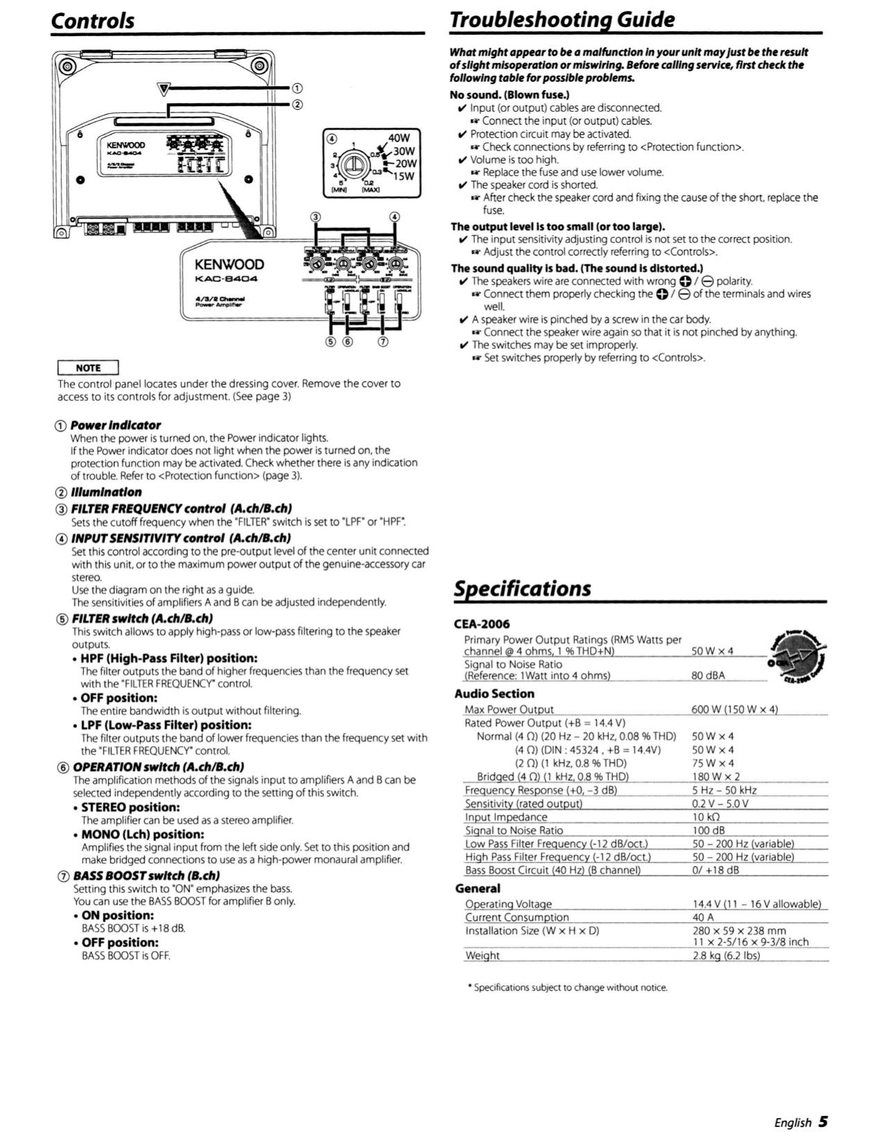 pdf manual for kenwood car amplifier kac 8404 rh umlib com Kenwood KAC- 7005PS Kenwood Kac- 8452