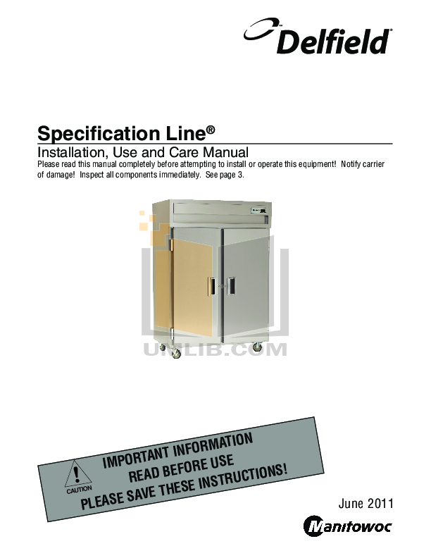 pdf for Delfield Refrigerator SAR2-SH manual