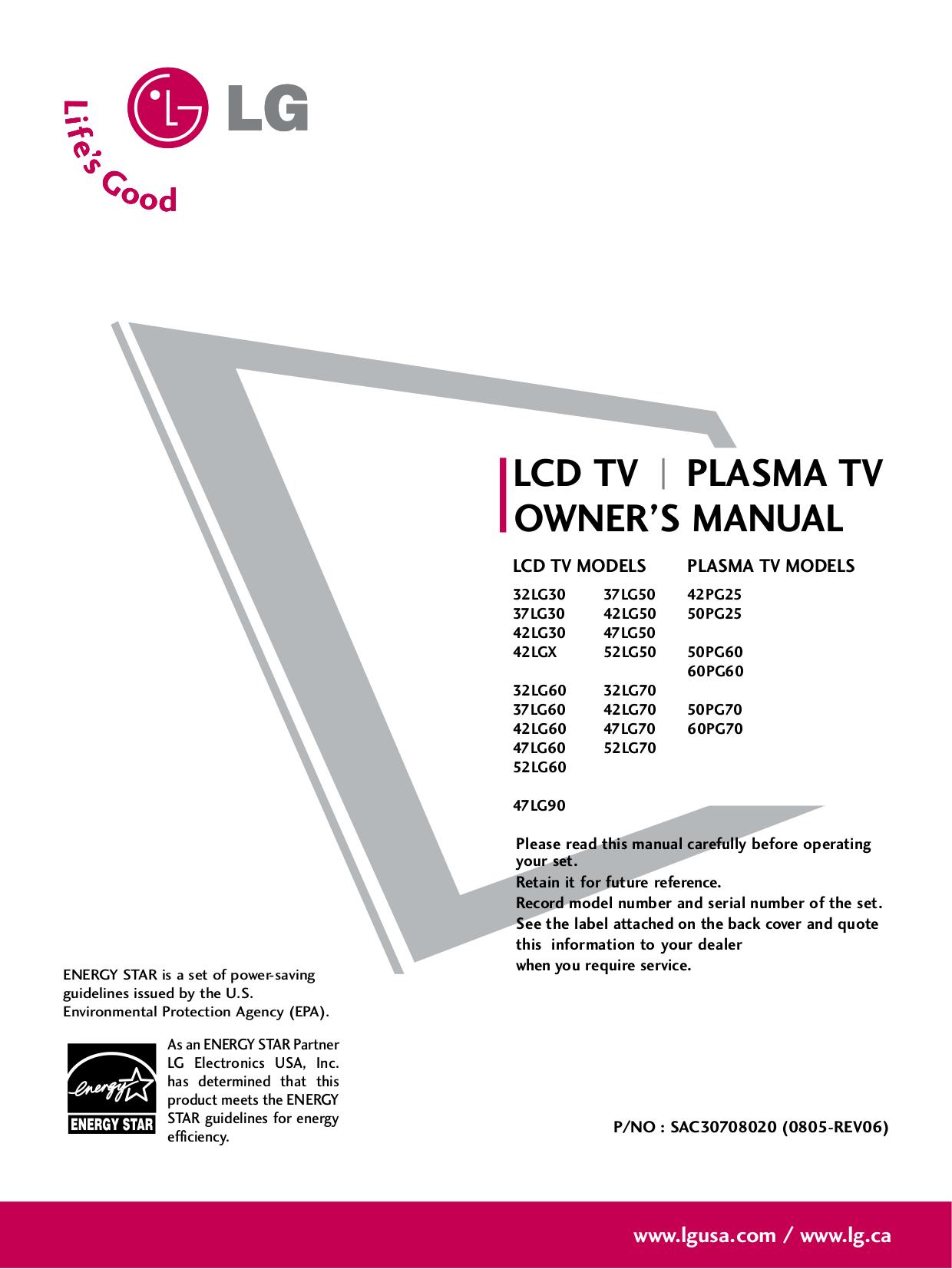 pdf for LG TV 50PG25 manual