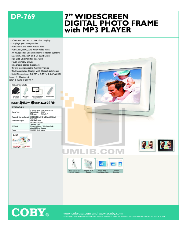 download free pdf for coby dp 769 digital photo frame manual rh umlib com Bissell PowerSteamer User Manual Wildgame Innovations Manuals