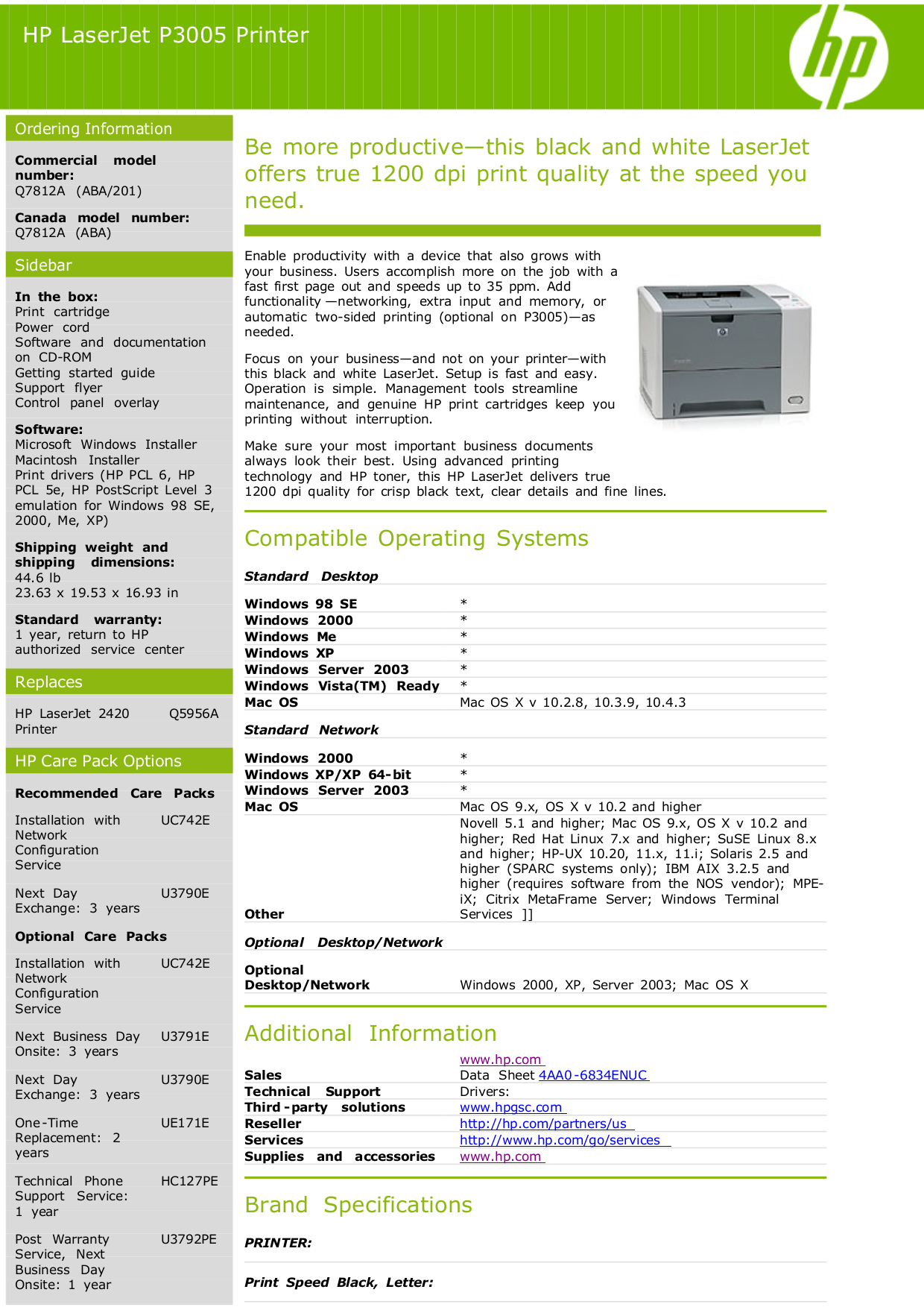 Download free pdf for HP Laserjet,Color Laserjet P3005 Printer manual