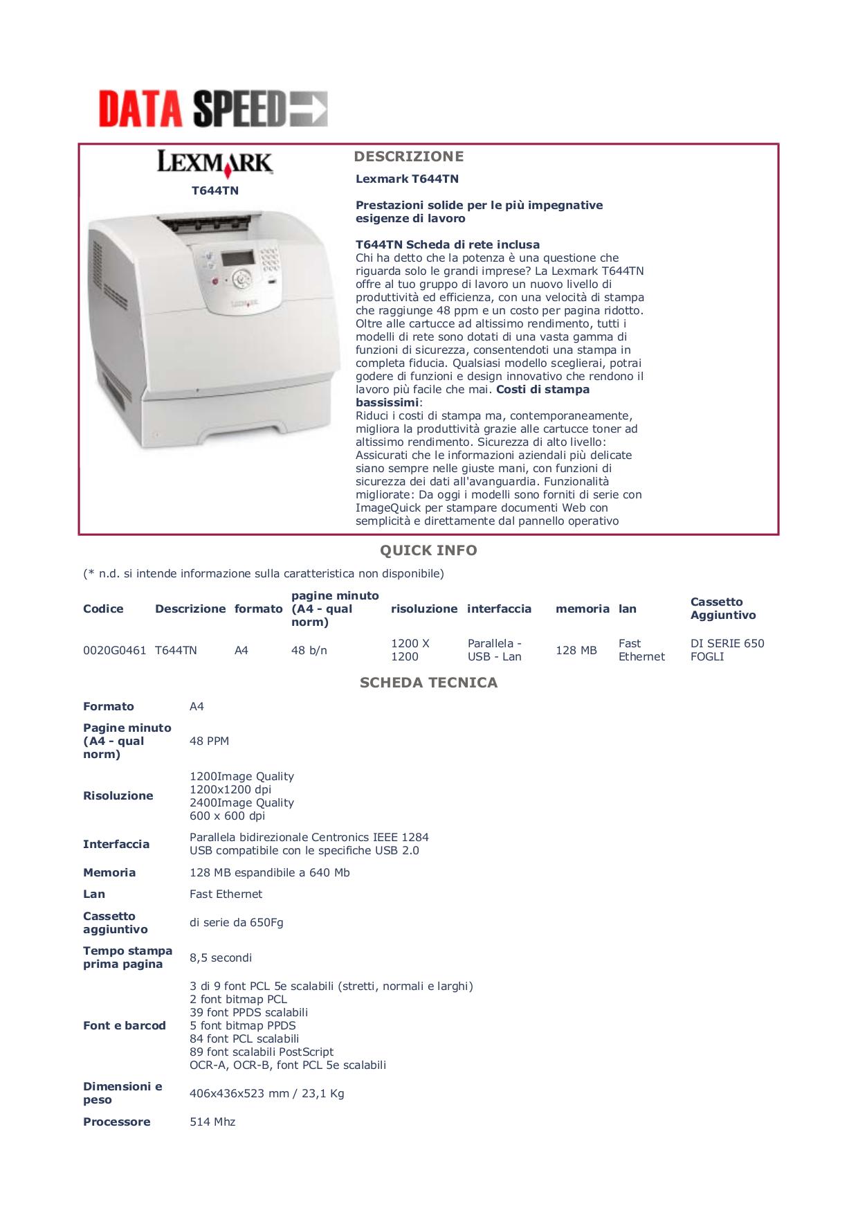 Lexmark Printer T644tn pdf page preview